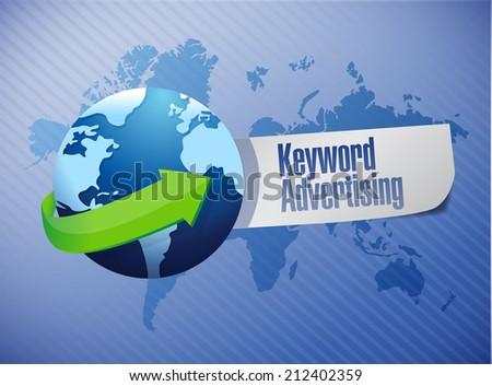 keyword advertising globe sign illustration design over a world map background - stock photo