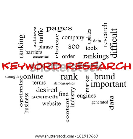 Keyword Research Word Cloud Concept in red caps with great terms such as rankings, order, phrase and more. - stock photo