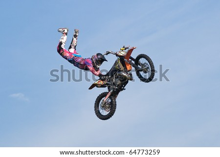 KHABAROVSK, RUSSIA - OCTOBER 9: Carlo Caresana in action at X Fighters freestyle on October 9, 2010 in Khabarovsk, Russia. - stock photo