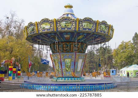 KHABAROVSK, RUSSIA - OCTOBER 7: Carousel in the deserted autumn park on October 7, 2014 in Khabarovsk.