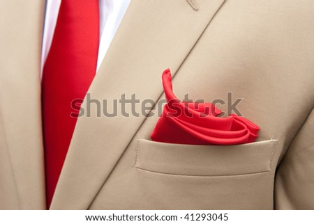 Khaki Suit with red handkerchief