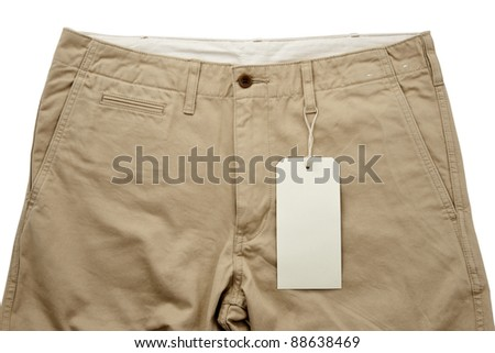 Khaki trousers with tagging - stock photo