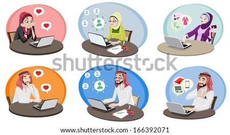 Khaliji People Using The Internet 1 - stock photo