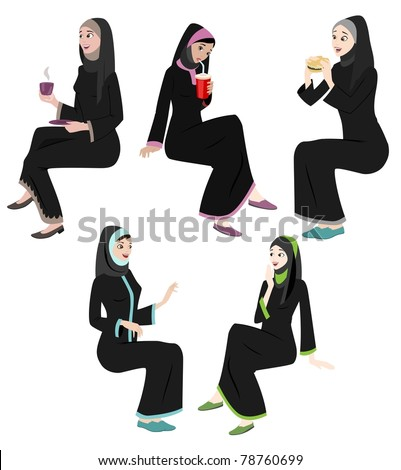 Khaliji Women Icons In Sitting Positions - stock photo