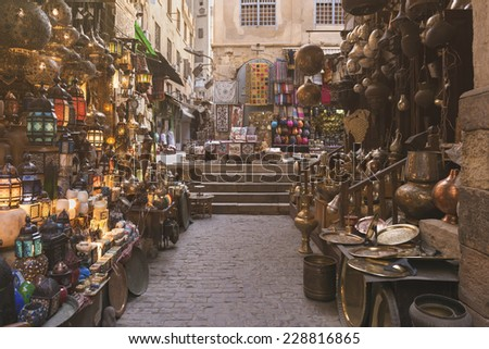 Khan al-Khalili Bazaar - stock photo
