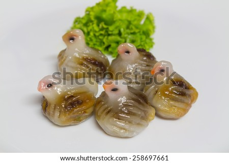 Khanom Jeeb Thai/ Steamed Bird Shaped Dumplings (Thai Dumpling) Thai ancient appetizer Thai Dim Sum - stock photo