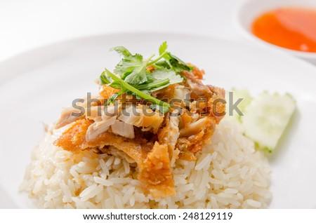 Khao Man Kai,Thai food - stock photo