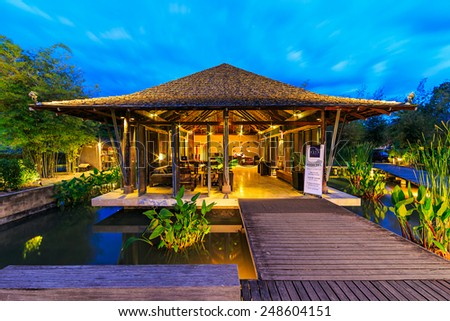 KHAO YAI, THAILAND - DEC 27: Lobby of Kirimaya Hotel  on Dec 27, 2014 in Khao Yai, Thailand. It's a luxury resort hotel and spa, with pristine 18-hole golf course designed by Jack Nicklaus. - stock photo