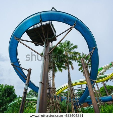 KHAO YAI, THAILAND - MAY 20: Thunder Bolt player at Splash World in Scenical World Khao Yai on May 20, 2017 in Khao Yai, Thailand.