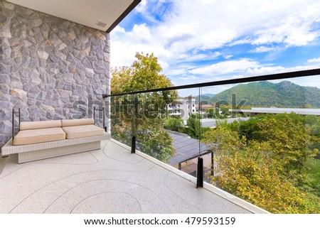 Khaoyai, Thailand - August 18, 2016: Interior design: Beautiful balcony  with mountain