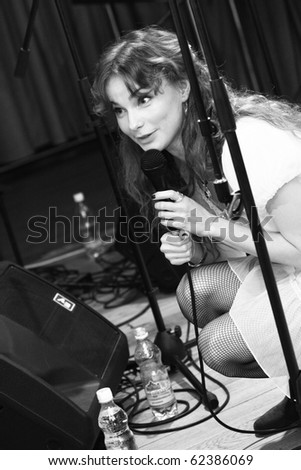 KHARKIV - OCTOBER 2: Nata Smirina, Pur:Pur band vocalist performs on stage at Jazzter club on October 2, 2009 in Kharkiv, Ukraine