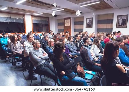 KHARKIV, UKRAINE - JANUARY 17, 2016: Classroom meeting at lecture at Spalah creative space. - stock photo
