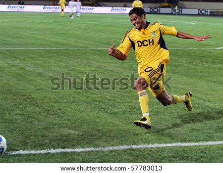 KHARKIV, UKRAINE - JULY 23: FC Metalist Kharkiv MF Cleiton Xavier  in action during football match vs. FC Dynamo Kyiv (1:2), July 23, 2010 in Kharkov, Ukraine - stock photo