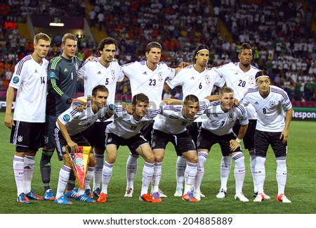 KHARKIV, UKRAINE - 13 June, 2012: German national football team pose for a group photo before UEFA EURO 2012 game against Netherlands  - stock photo