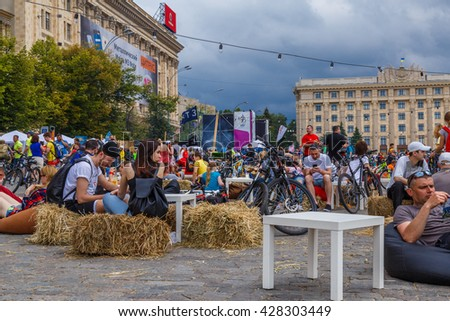 KHARKIV, UKRAINE - MAY 29, 2016: Annual bike day festival in Kharkiv, that was visited by over 10.000 bikers.