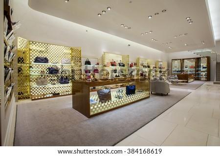 KHARKOV, UKRAINE - 7 MAY 2014: luxury  store interior - stock photo