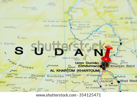 Khartoum pinned on a map of Africa