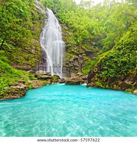 Khe Kem Waterfall. Pu mat national park. Vietnam - stock photo