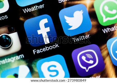 KHERSON, UKRAINE - JANUARY 15, 2014: Social Media, Facebook, Symbol. - stock photo
