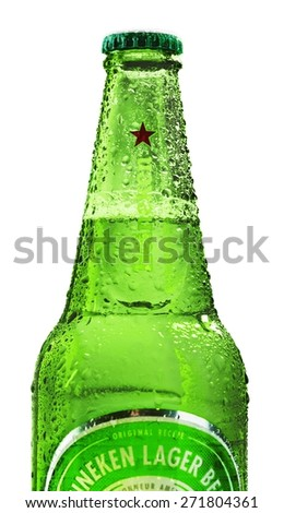 KHERSON, UKRAINE - NOVEMBER 05, 2014: Heineken. Heineken International is a Dutch brewing company, founded in 1864 in Amsterdam. As of 2012, Heineken owns over 190 breweries in more than 70 countries - stock photo