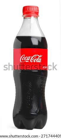 KHERSON, UKRAINE - NOVEMBER 13, 2014: &quot. 2l Coca-Cola Zero Bottle Isolated On White Background. Coca-Cola is a carbonated soft drink sold in shops, restaurants, and vending machines around the - stock photo