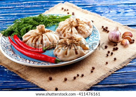 Khinkali homemade. Delicious home-made food - stock photo