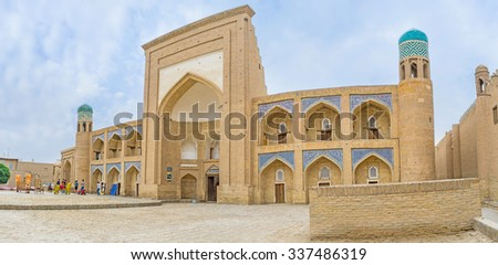 KHIVA, UZBEKISTAN, MAY 3, 2015: The Kutlimurodinok Madrasah nowadays serves as the art museum and is the popular tourist site, on May 3 in Khiva.