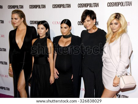 Khloe Kardashian, Kourtney Kardashian, Kim Kardashian, Kris Jenner and Kylie Jenner at the Cosmopolitan's 50th Birthday Celebration held at the Ysabel in West Hollywood, USA on October 12, 2015. - stock photo