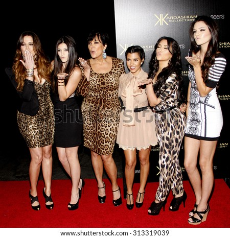 Khloe Kardashian, Kylie Jenner, Kris Jenner, Kourtney Kardashian, Kim Kardashian and Kendall Jenner at the Kardashian Kollection Launch Party in Hollywood, USA on August 17, 2011. - stock photo
