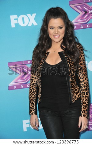 "Khloe Kardashian Odom at the press conference for the season finale of Fox's ""The X Factor"" at CBS Televison City, Los Angeles. December 17, 2012  Los Angeles, CA Picture: Paul Smith"