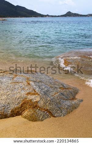 kho samui   bay asia isle white  beach  tree  rocks in thailand  and south china sea  - stock photo