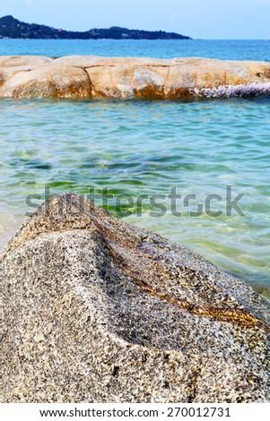 kho samui  bay isle white  beach    rocks in thailand asia and south china sea  - stock photo