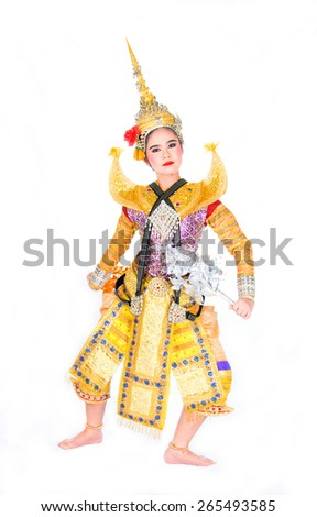 Khon is one of the traditional performing arts of Thailand - stock photo