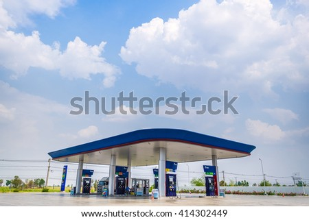 Khon Kaen, Thailand - 22 April 2016 : PTT gas station at Highway No. 2 (Mittraphap Road) . PTT is largest oil company in Thailand