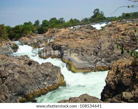 khon pha peng waterfalls, champasak, southern laos - stock photo
