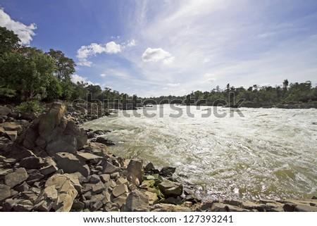 Khon Phapheng waterfalls in southern Laos - stock photo