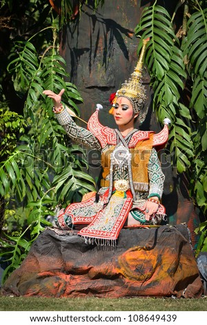 khon show in drama of ramayana and beautiful traditional costume - stock photo