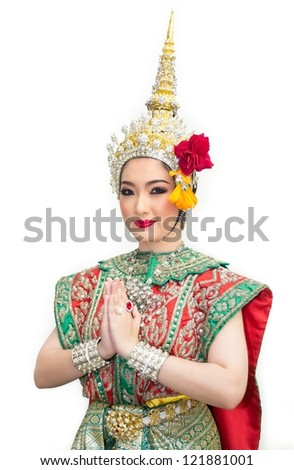 khon show sita in a ramayana epic and traditional costume of thailand - stock photo