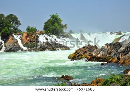 Khone Phapheng Waterfall, Southern Laos. - stock photo