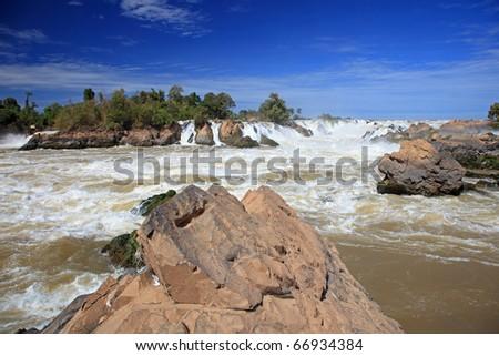 "Khong Pha Peng waterfalls the "" Niagara of the Asia"", Champasak Southern Laos. - stock photo"