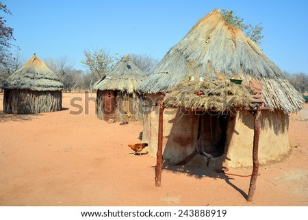 KHORIXAS, NAMIBIA OCTOBER 09, 2014: Himba house. The Himba are indigenous peoples living in northern Namibia, in the Kunene region of South-West Africa on october 09 2014  - stock photo