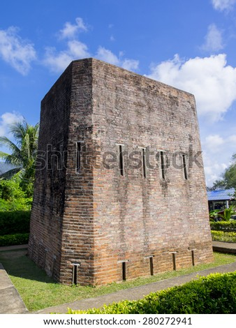 Khuk Khi Kai was built to hold Thai who were against the French occupation of Chanthaburi in 1893. A 7-meters high, square-shaped prison, it was built in bricks with each side measuring 4.40 meters. - stock photo