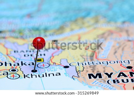 Khulna pinned on a map of Asia  - stock photo