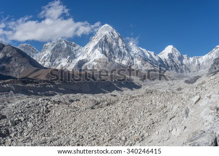Khumbu glacier and Lobuche mountain, Everest region, Nepal