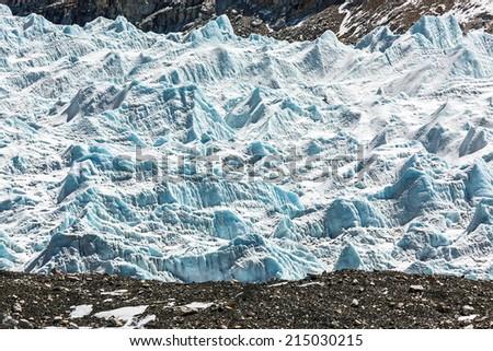 Khumbu glacier  near legendary place Everest Base Camp - Nepal, Himalayas - stock photo