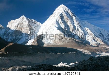 khumbu valley, khumbu glacier and pumo ri peak - trek to Everest base camp - nepal  - stock photo