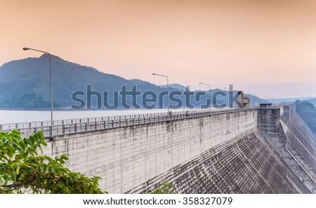 Khun Dan Prakarnchol Dam, Nakornnayok, Thailand. - stock photo