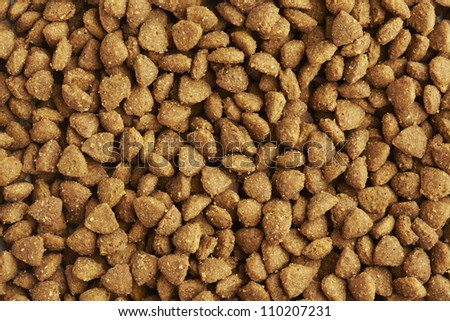 Kibble dog or cat food close up