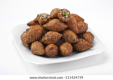 Kibe - delicious fried meat cakes as appetizer . - stock photo