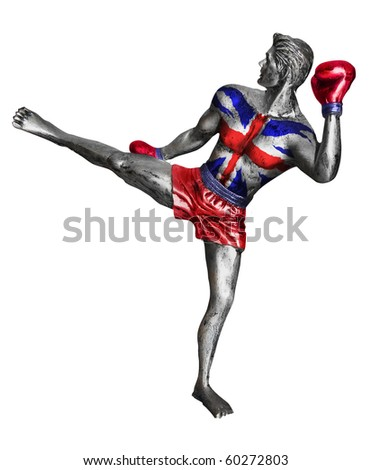 Kick Boxer With British Union Jack Flag superimposed on chest. Contains clipping mask for outline.